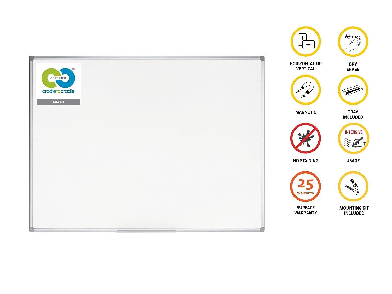 Umweltfreundliches Whiteboard Bi-Office Earth Emaillierte Premiumoberfl/äche Magnettafel 90 x 60 cm mit Aluminiumrahmen und Stifteablage