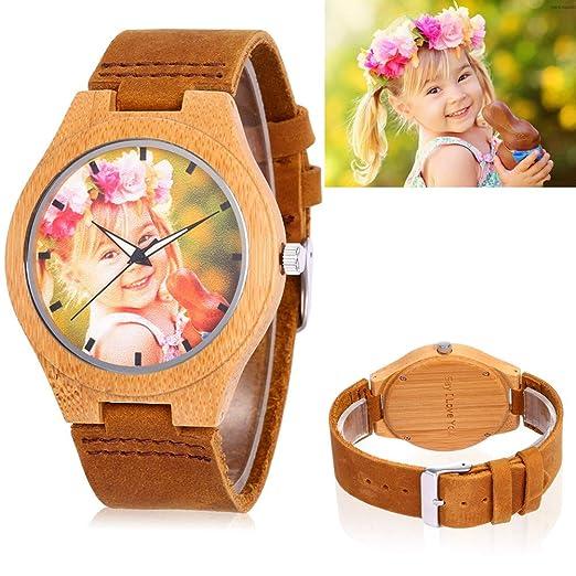 Relojes de Madera Grabados Personalizados con Foto y Mensaje Doble Cara Grabado Movimiento de Cuarzo Correa de Cuero: Amazon.es: Relojes
