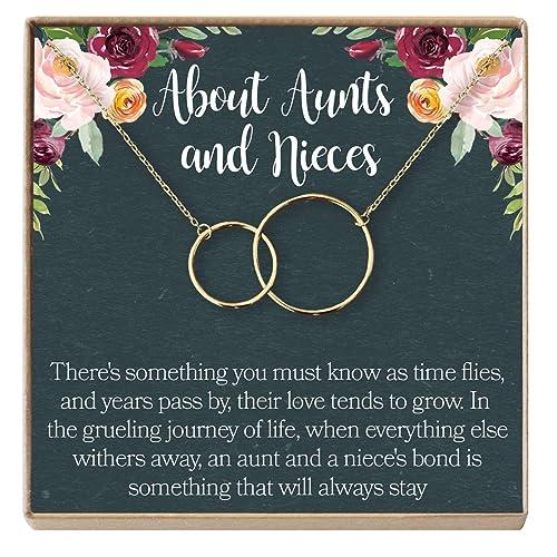 Dear Ava Aunt-Niece Necklace: Aunt-Niece Gift, Aunt-Niece Jewelry,  Aunt-Niece Quotes, Aunt Necklace, 2 Interlocking Circles