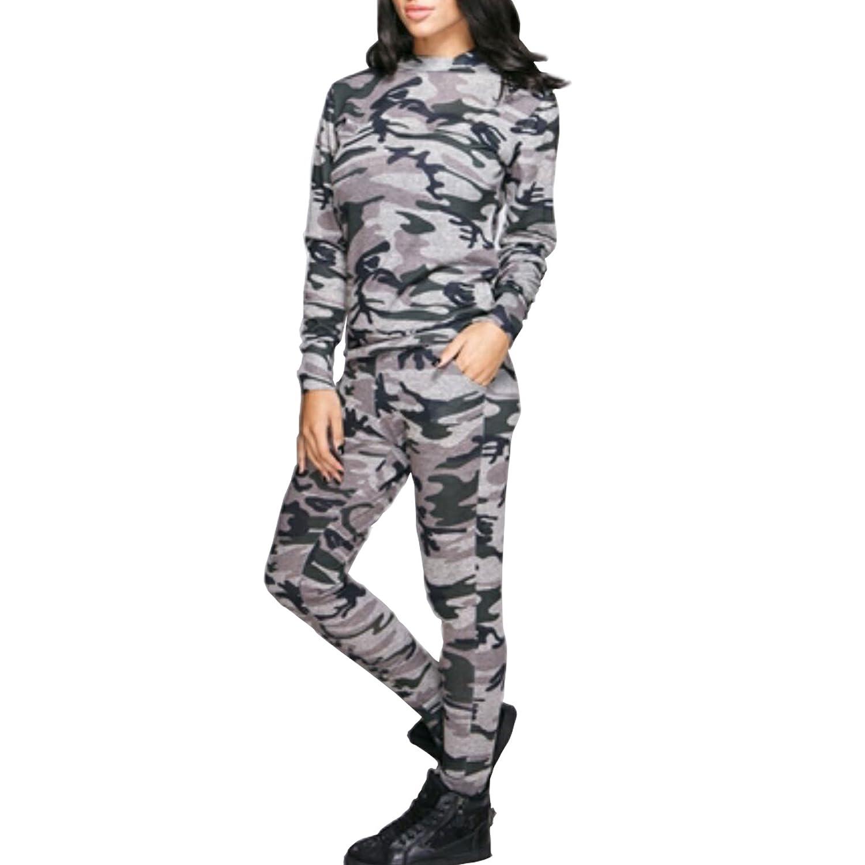 Damen Camouflage Armee Damen Loungewear Set Sweatshirt Jogger Hose Trainingsanzug