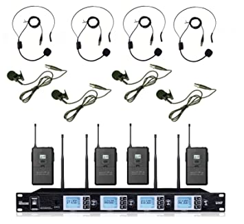 Boly 4200sb 4 x 100ch inalámbrico UHF lavalier sistema de micrófono auricular con micrófono