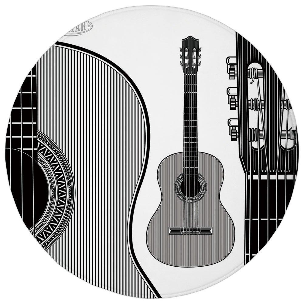 Round Rug Mat Carpet,Guitar,Monochrome Design Striped Acoustic Classical Instruments Folk Country Music Concert Decorative,Black White,Flannel Microfiber Non-slip Soft Absorbent,for Kitchen Floor Bath