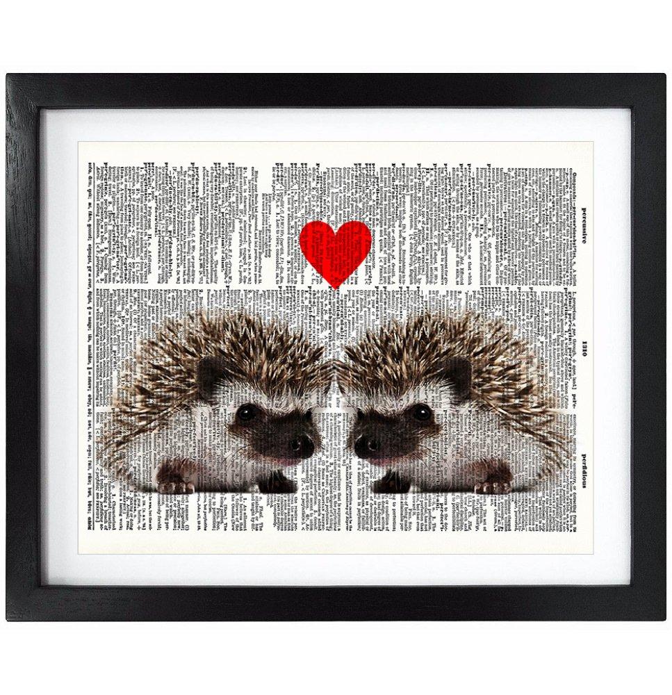 Susie Arts 8X10 Unframed Hedgehog Love Upcycled Vintage Dictionary Art Print Book Art Print Home Decor Wall Art V035