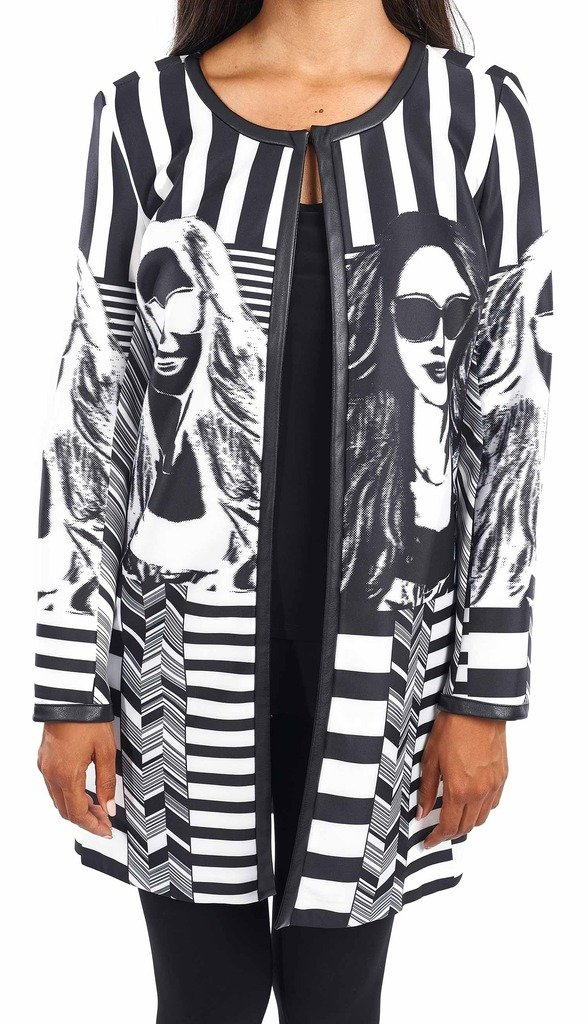 Joseph Ribkoff Black & White Stripe + Graphic Design Coat Style 163874 - Size 14