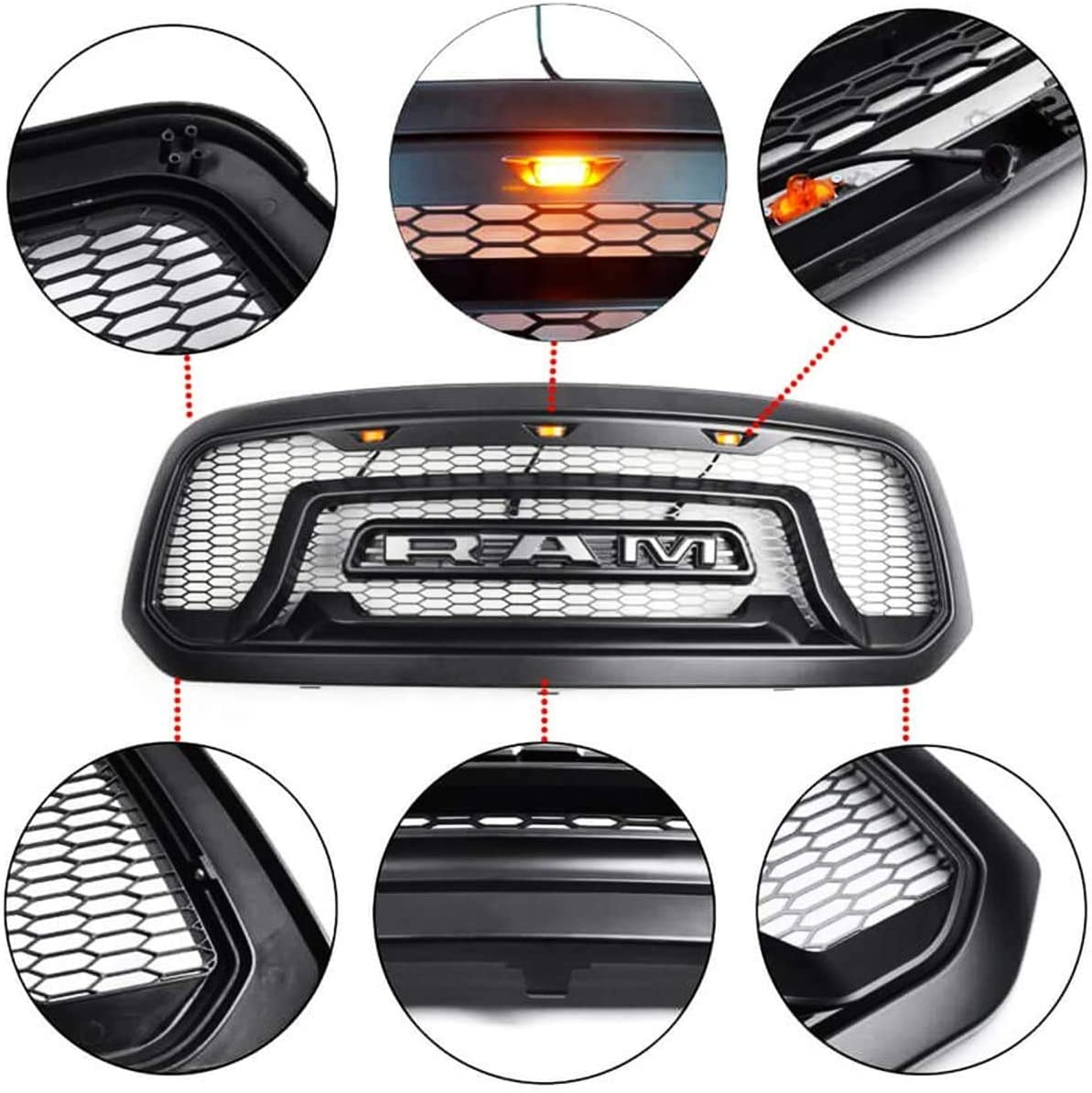 Replacement Front Grille Upper Grill Rebel Style Mesh Grill Honeycomb Bumper with Three LED Amber Lights for 2013-2018