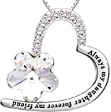 "ALOV Jewelry Sterling Silver ""Always my daughter forever my friend"" Love Heart Crystal Cubic Zirconia Pendant Necklace"