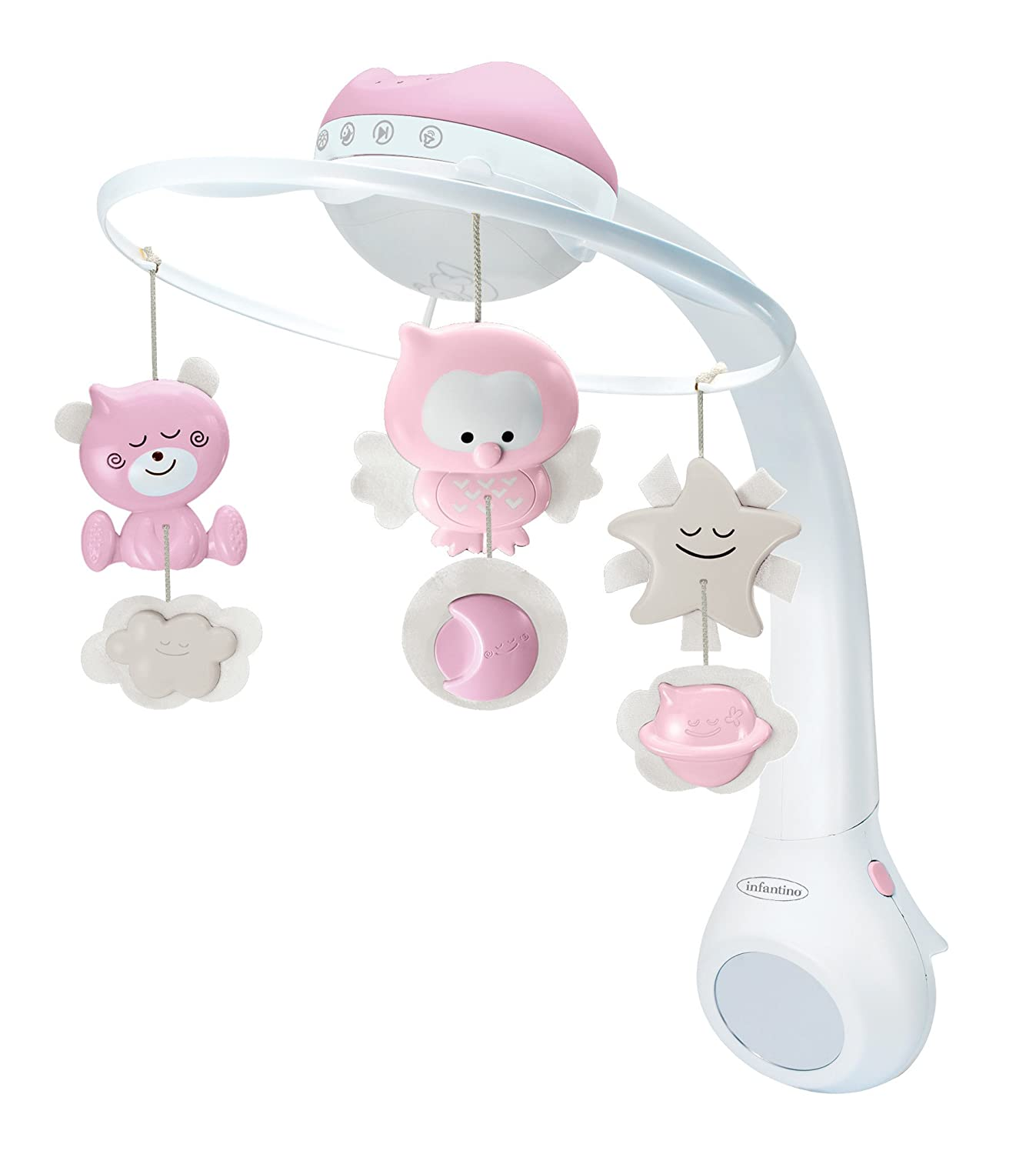 Infantino 3 in 1 Projector musical mobile, cot & table top night light, wake up mode simulates daylight, Grey 004915-03