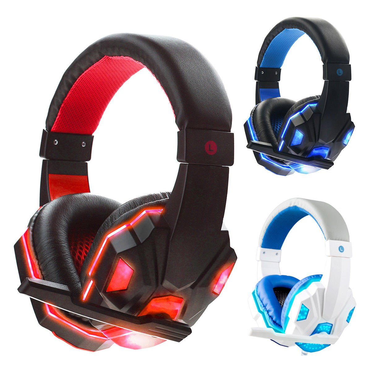 SY830MV Deep Bass Game Headphone Stereo Over-Ear Gaming Headset Headband Earphone with LED Light