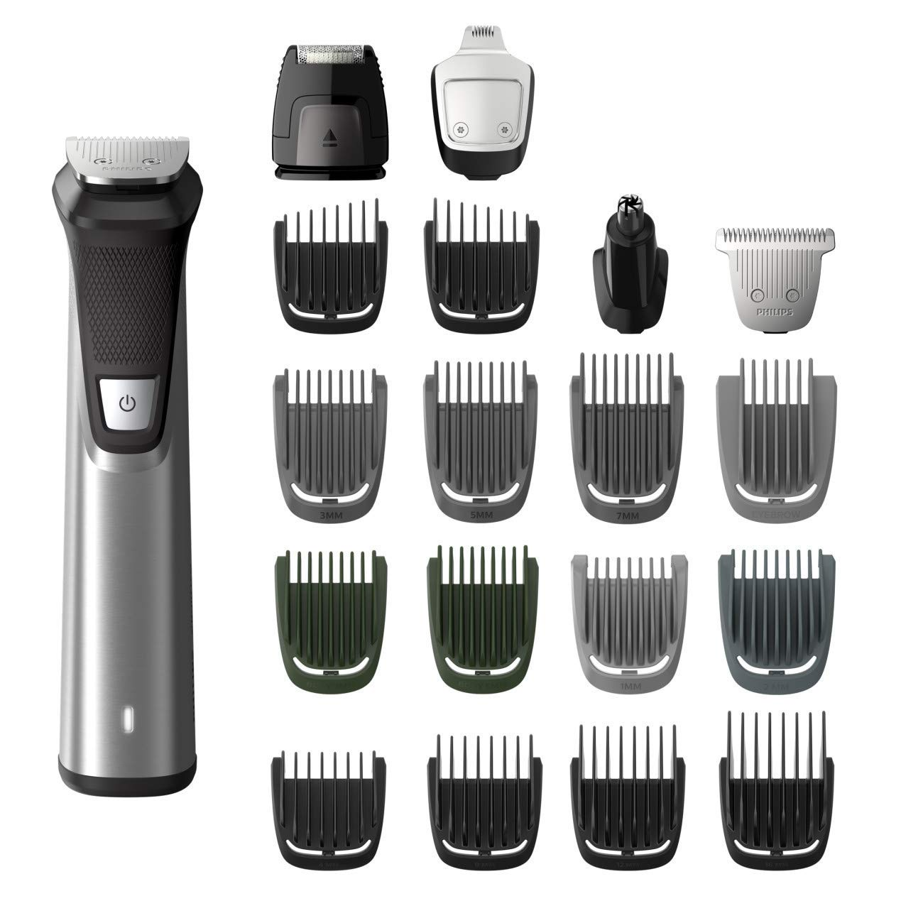 Philips 25-Piece All In One Face & Body, Unisex, Rechargeable Multigroom Trimmer Kit with Premium Case (MG7770/49 Series 9000)