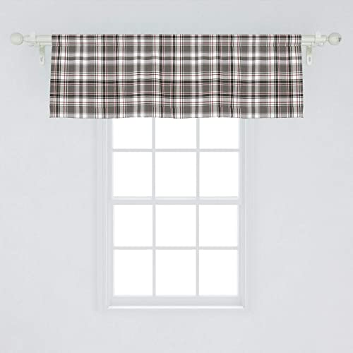 Lunarable Plaid Window Valance, Classic English Tartan Plaid Cells Stripes Scottish Geometric Traditional, Curtain Valance for Kitchen Bedroom Decor with Rod Pocket, 54 X 18 , Grey Black Burgundy