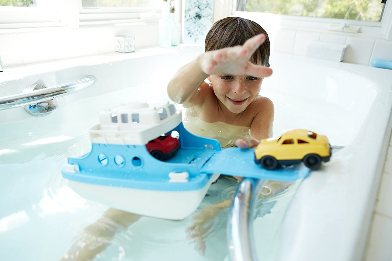 Amazon.com: Green Toys Ferry Boat with Mini Cars Bathtub Toy, Blue ...