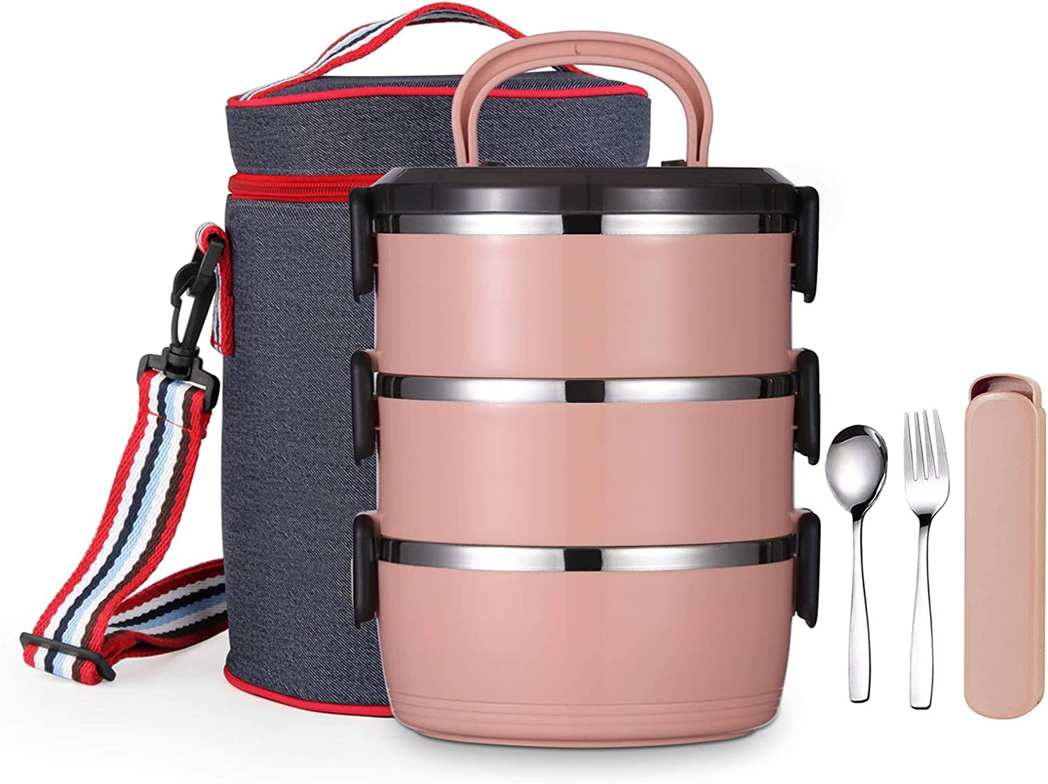 YBOBK HOME Bento Lunch Box, Stackable Insulated Leak Proof Stainless Steel Metal Portable Cylinder All-in-one Lunch Container with Lunch Bag Spoon and Fork for Adults (Coral Red)