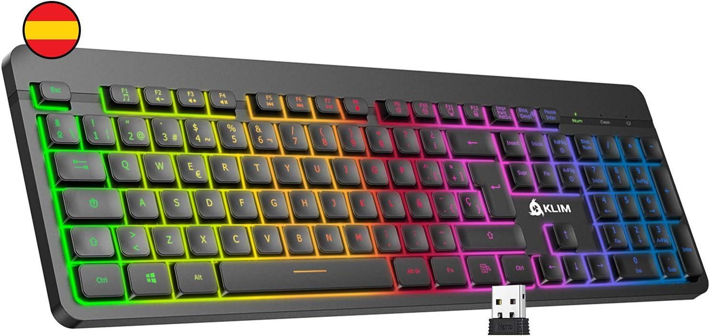 KLIM™ Light V2 Teclado Inalámbrico Gaming ESPAÑOL + Teclado Gaming Ligero, Duradero, Ergonómico, Silencioso + Batería de Larga duración + Teclado Gamer PC Mac PS4 Xbox One+ Nuevo 2020 + Negro