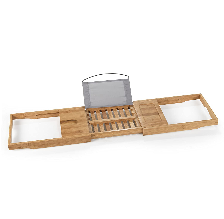 TERRA SELL Hochwertiges Badewannentablett//Badewannenbrett//Badewannenablage//Badebrett//Badewannentisch Bambus