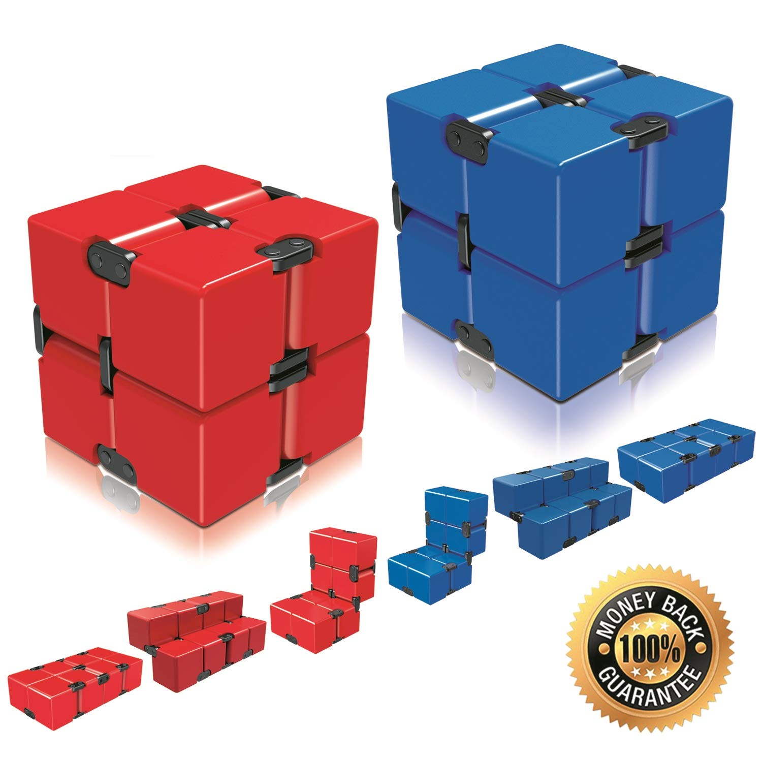 Ganowo Infinity Cube Fidget Toy for Kids and Adults, Fidget Cube Cool Mini Magic Cube Gadget Spinner for Stress and Anxiety Relief and Kill Time (Red&Blue)