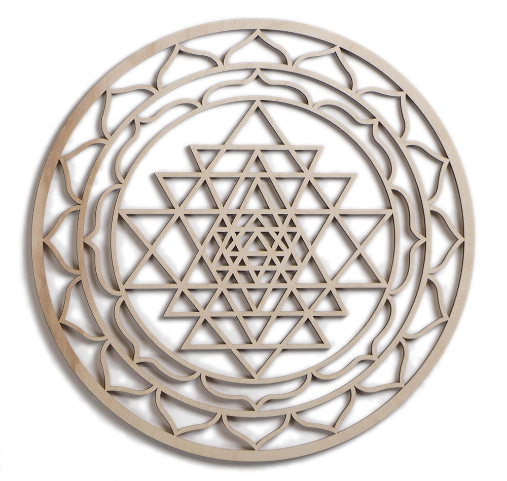 Fourth Level Mfg. Designs 12'' Sri Yantra, Sri Chakra, Hindu Tantra, Wooden Wall Art Hindu, Zen Buddha, Oriental Wall Art, Wooden Wall Art Decor, Sacred Geometry Art, Geometry Art, Made in USA Items