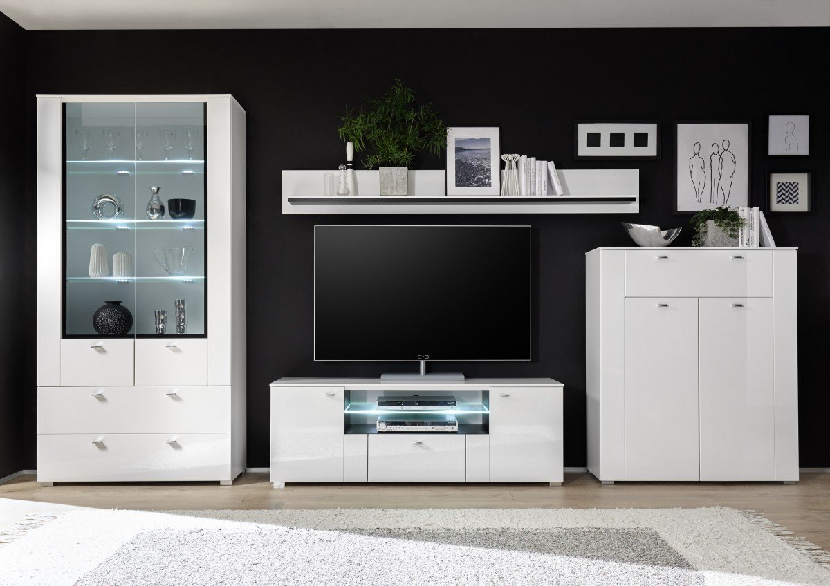 Attraktiv Dreams4Home Wohnwand U0027Lunis IIu0027   Set, Glasvitrine, TV Lowboard, Highboard