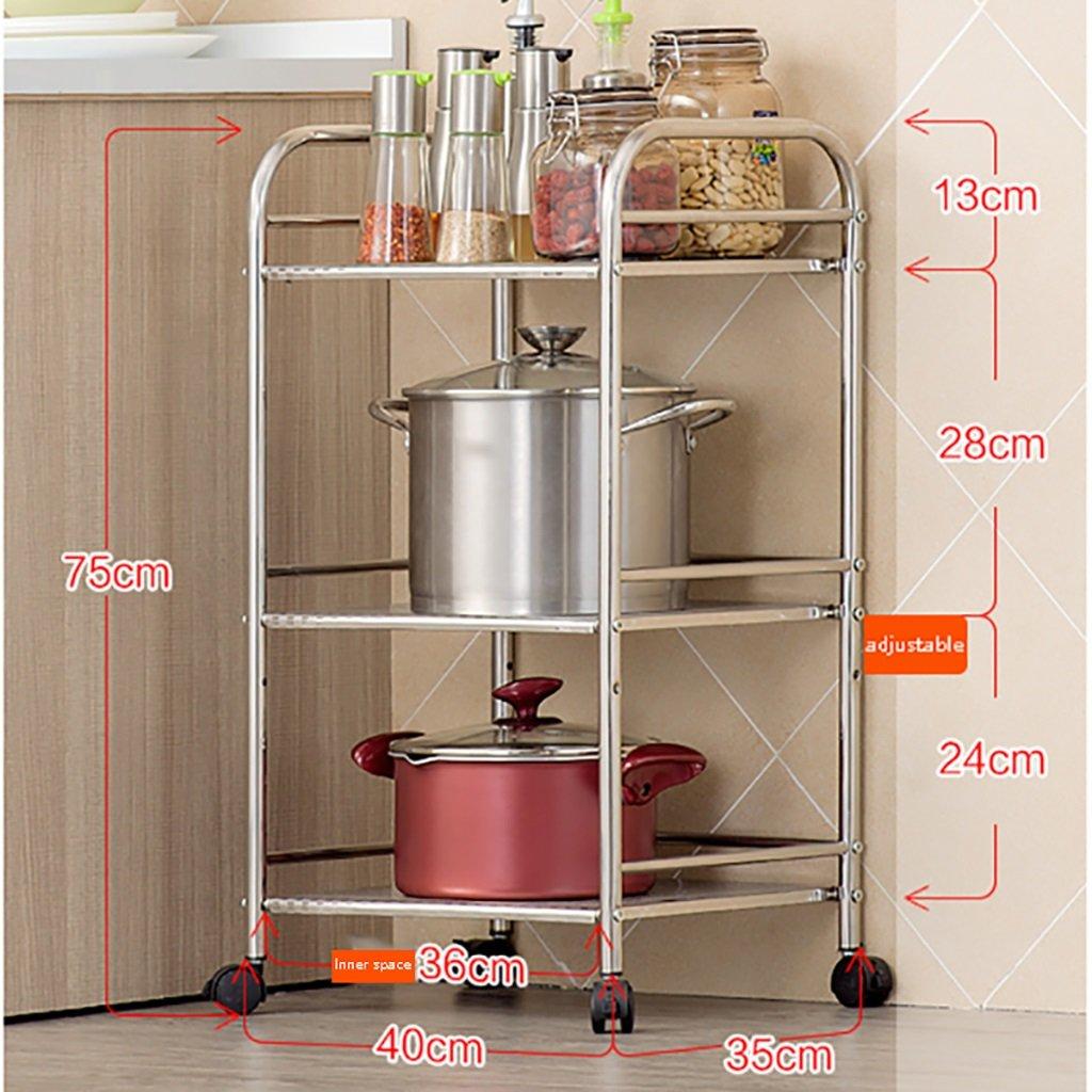 棚収納ラック電子レンジキッチンフロアスタンド多層ステンレスキッチン用品3層3層40/50/60 * 35 * 75 cm B07RLFTFYZ