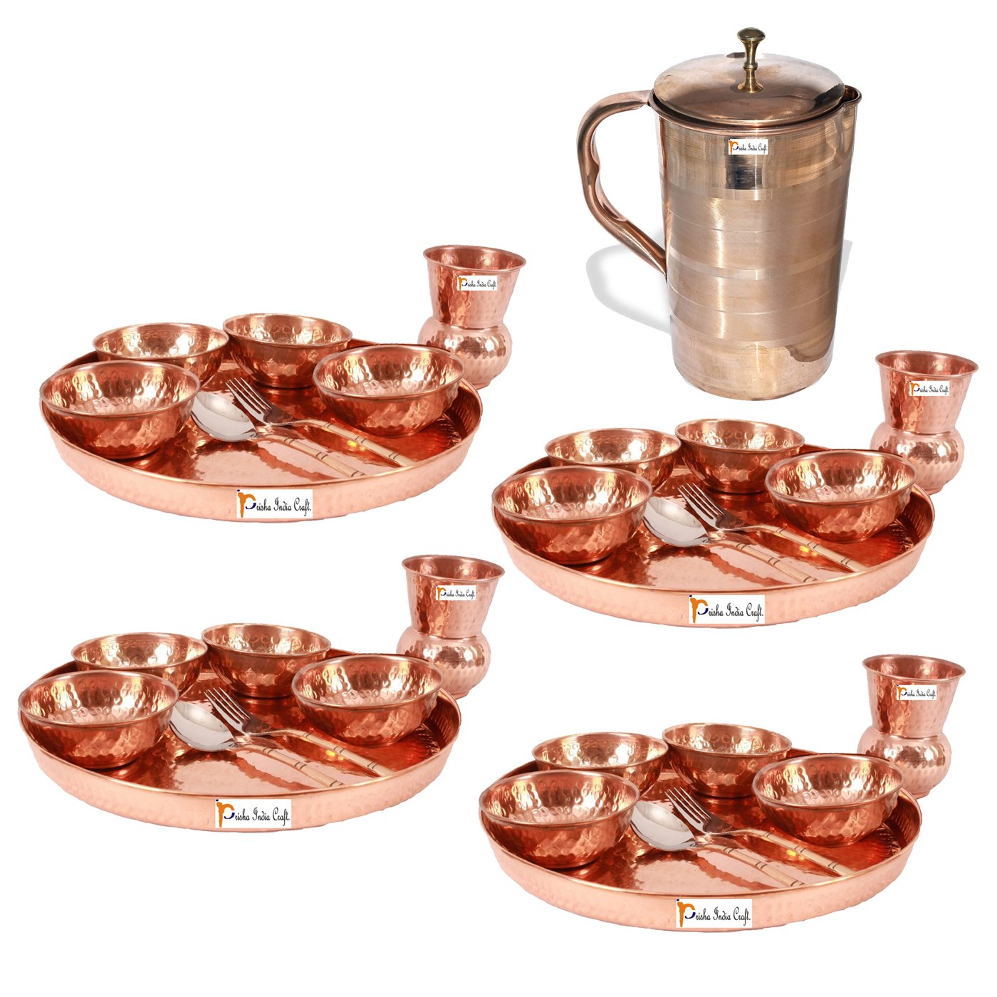 Prisha India Craft ® Set of 4 Dinnerware Traditional 100% Pure Copper Dinner Set of Thali Plate, Bowls, Glass and Spoon, Dia 12'' With 1 Luxury Style Pure Copper Pitcher Jug - Christmas Gift
