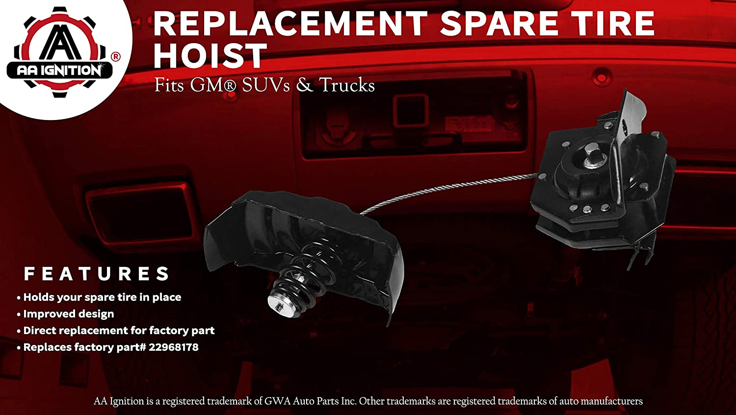 2002-2018 Cadillac Esclade 924-517 22968178 25974845 2007-2013 Chevy Avalanche Spare Tire Hoist Winch Carrier Holder for 2001-2018 GMC Yukon and Chevy Tahoe 2001-2014 Chevy Suburban 1500 2500