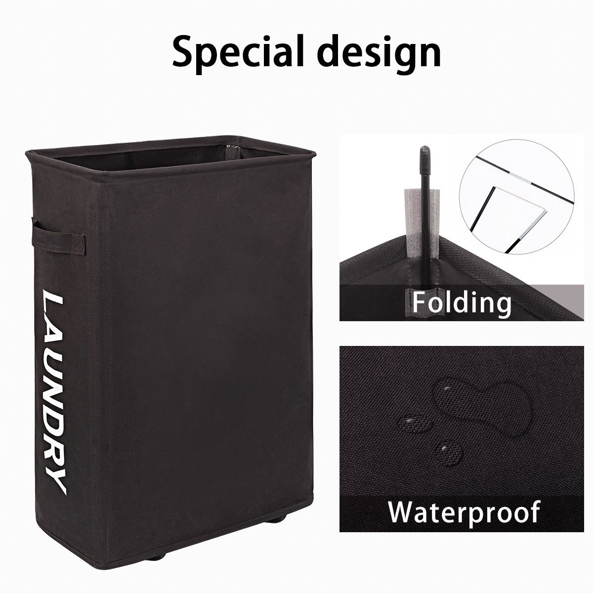 WOWLIVE Thin Laundry Hamper Collapsible Rolling Slim Tall Laundry Basket Wheels Corner Standing Dirty Clothes Organizer Hamper (Chocolate Brown)