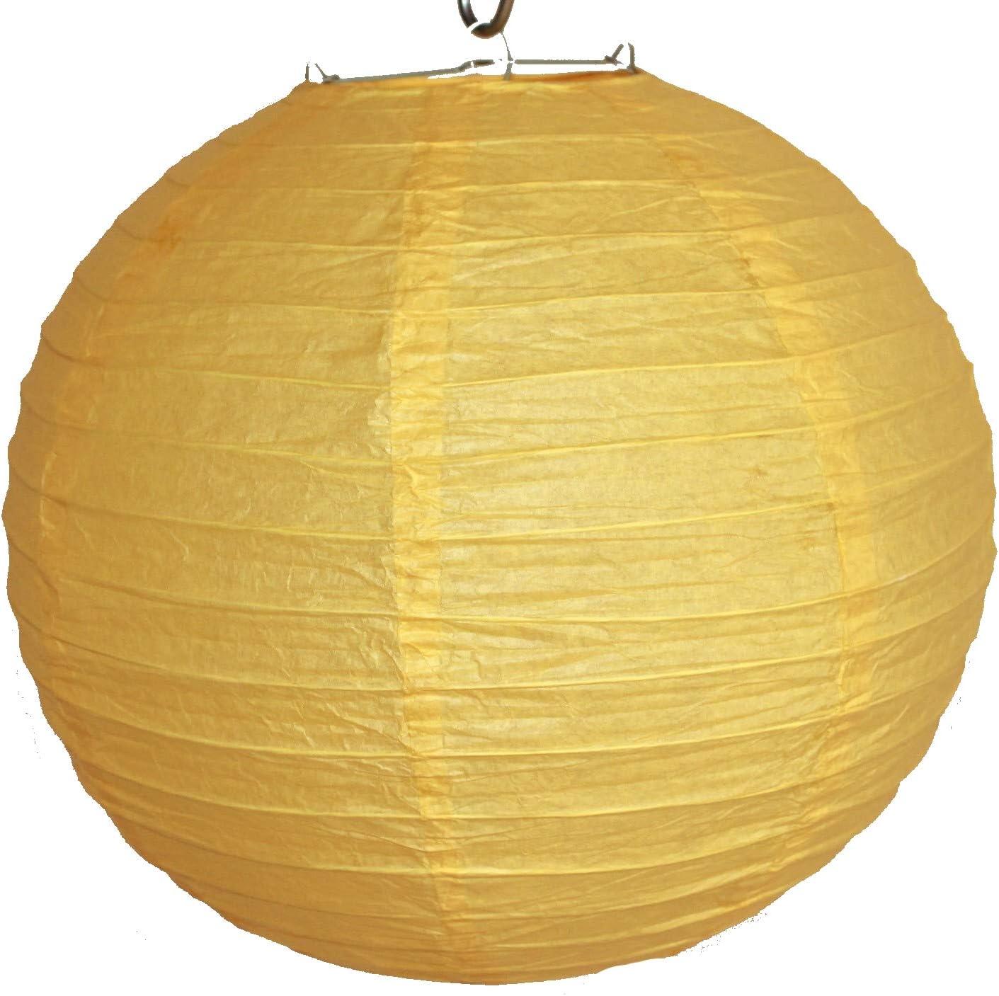 516 Papier gelb unifarben japanisch rund Durchmesser 30 cm AAF Nommel/® Lampion 1 Stk
