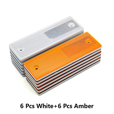 "MFC PRO 6"" Rectangular Stick-on/Screw Mount Reflectors (Kit 4/White+Yellow): Automotive"