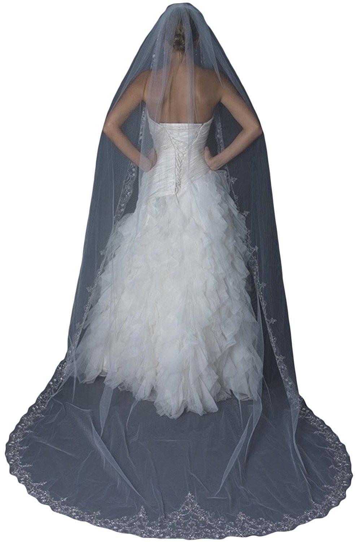 EllieHouse Women's Long Bead Edge Wedding Bridal Veil With Comb Ivory S09