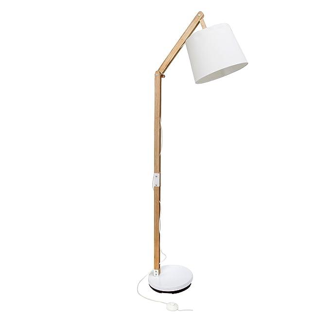 Lámpara de pie con tela y estructura de madera, 1 x E27 Max. 60 W, madera, color blanco