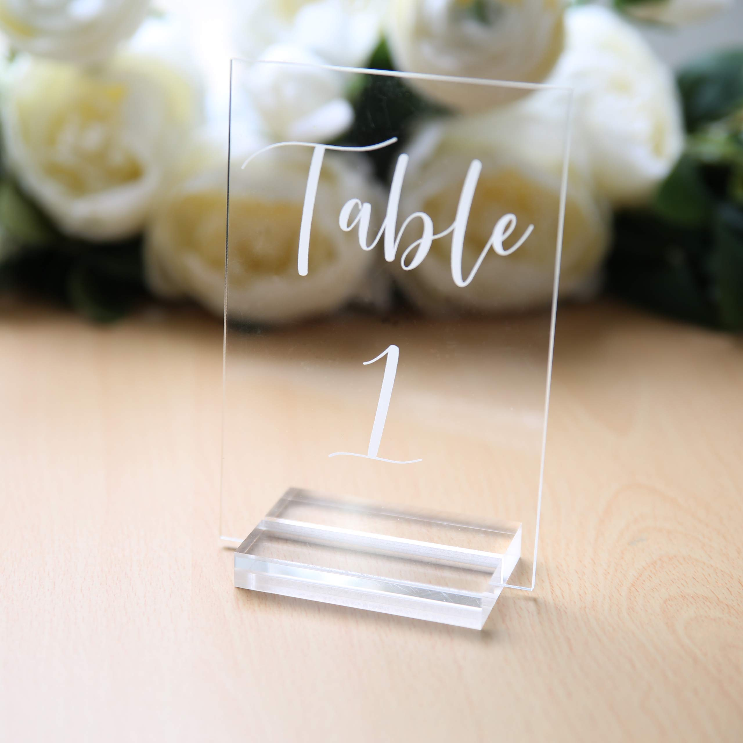 UNIQOOO 3'' Large Clear Acrylic Sign Holders | Wedding Sign Holders |Table Numbers Display Stands | Acrylic Place Card Slot Stand, Perfect for Retail Shop Cafe Events, Set of 20 by UNIQOOO (Image #4)