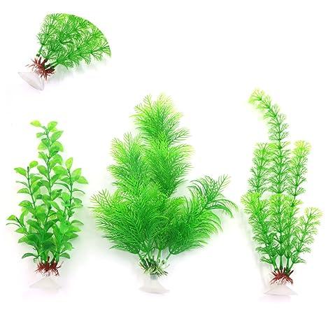Plantas plásticas para decoración paisaje de acuario de pecera ventosa 3piezas