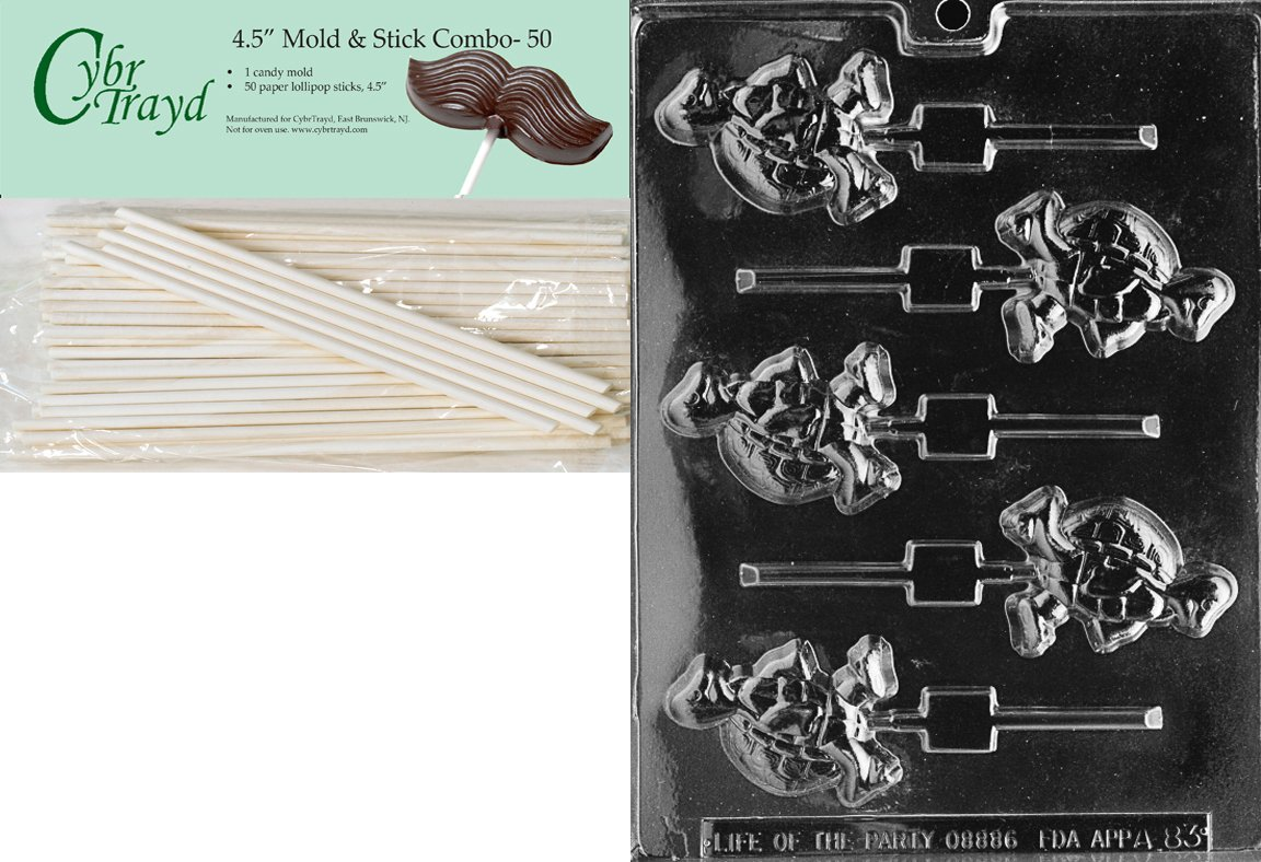 Cybrtrayd 45St50-A083 Small Turtle Lolly Animal Chocolate Candy Mold with 50 4.5-Inch Lollipop Sticks