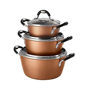 Tramontina Juego de 6 apilables Set de batería de cocina (cobre ...