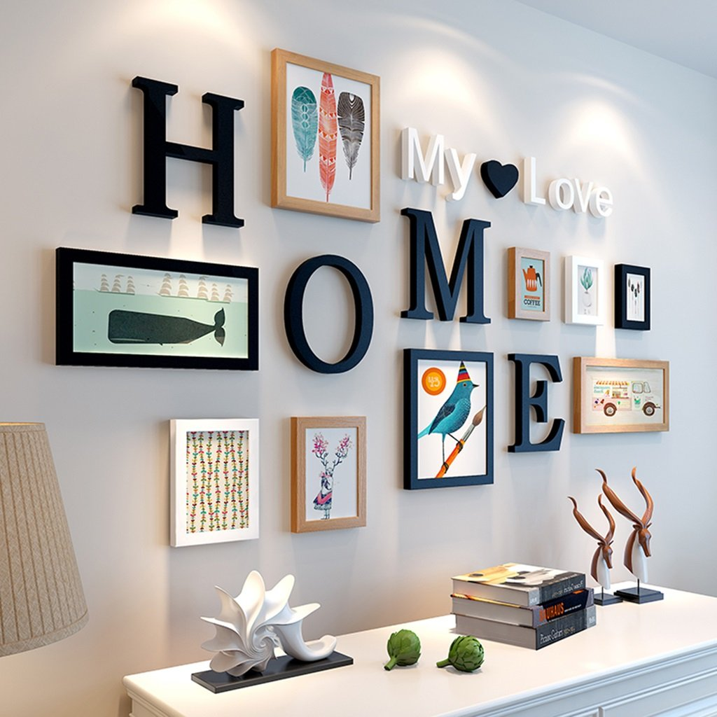 ZGP Home@Wall photo frame Photo Wall Frame Wall Creative 9/piece Suit. Living Room Frame Wall Hanging Wall Decoration Wall Photo Wall (Color : 4#)