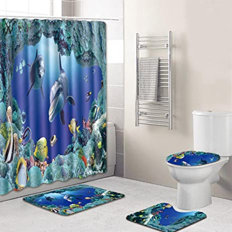 Résumé 3D noir rouge motif de rideau de douche Set de salle de bains Tissu Polyester Crochets