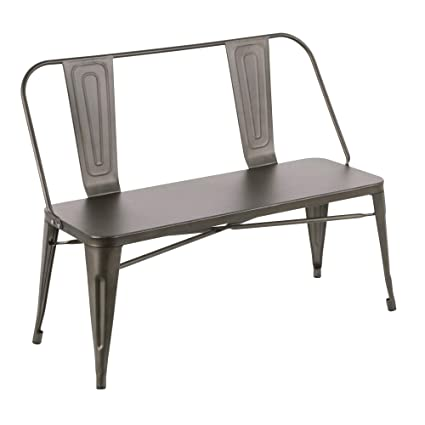 Magnificent Amazon Com Lumisource Industrial Metal Dining Bench In Alphanode Cool Chair Designs And Ideas Alphanodeonline