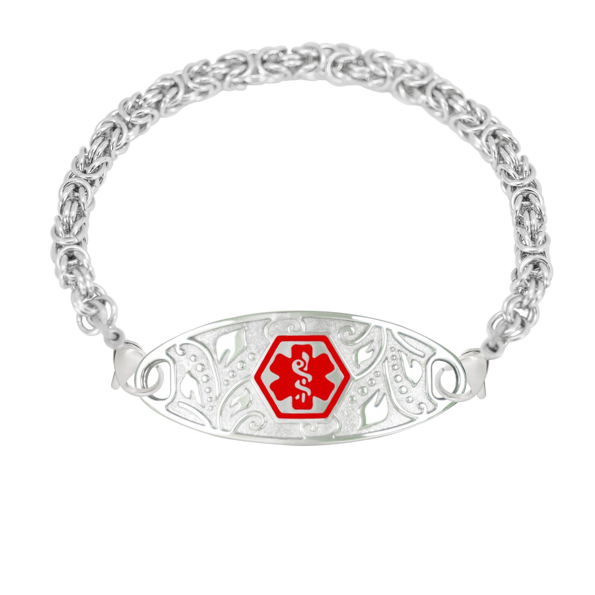 Divoti Custom Engraved 316L Lovely Filigree Medical Alert Bracelet for Women w/Stainless Handmade Byzantine Chain -Red-8.0''