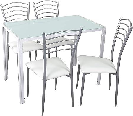 Woopi Lote de Mesa de Cocina Kiev + 4 sillas Paris Blancas: Amazon ...