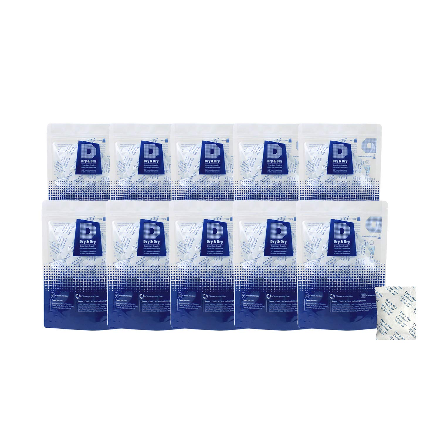 Dry & Dry 10 Gram [500 Packets] Premium Pure & Safe Silica Gel Packets Desiccant Dehumidifier - Food Safe Rechargeable(FDA Compliant) Silica Packets for Moisture by Dry & Dry
