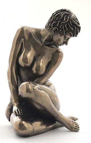 Bronzed Finish Sitting Nude Female Sculpture