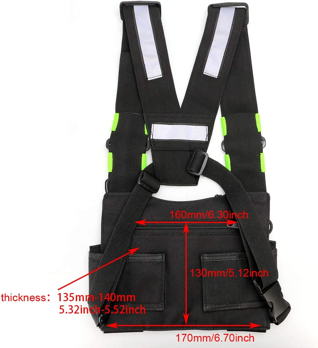Rescue Essentials, 1Pack Bag Pocket Pack Holster with Fluorescent Green Reflector Strips for Two Way Radio Recon Chest Rig Retevis HB02 Universal Radio Chest Harness