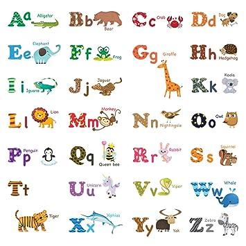 Decowall DW-1308 Englisch Alphabet & Tiere Wandsticker Wandaufkleber ...