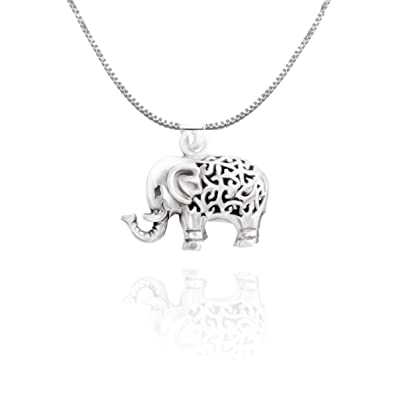 URBAN SHe° Sterling Silver 3D Lucky Elephant Necklace Pendant Spiritual Jewellery 3KkBSmkLHS