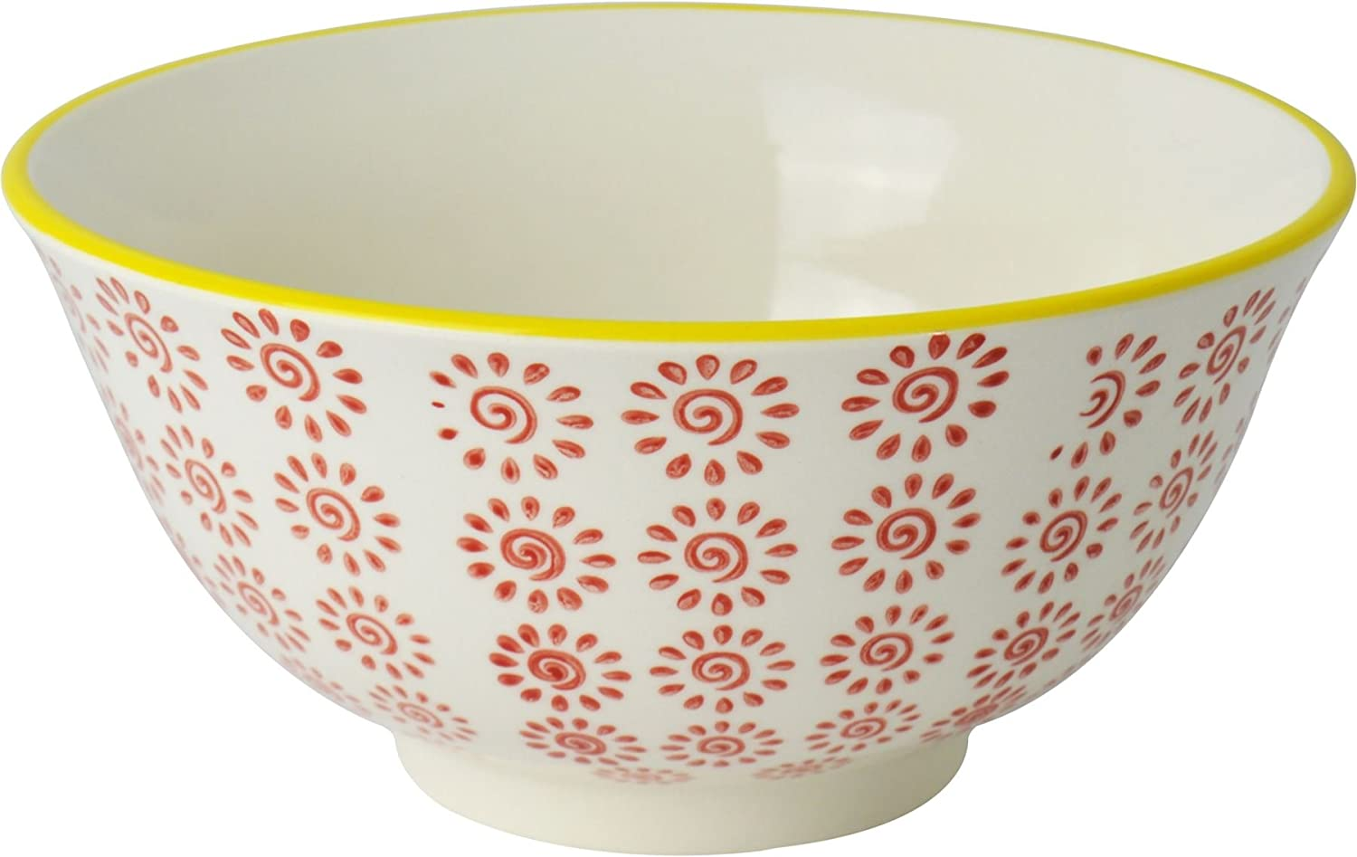 Nicola Spring Patterned Cereal Bowl - 152mm (6 Inches) - Red / Yellow Swirl Design