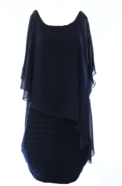 Betsy & Adam Navy Women Plus Shutter Capelet Sheath Dress @229