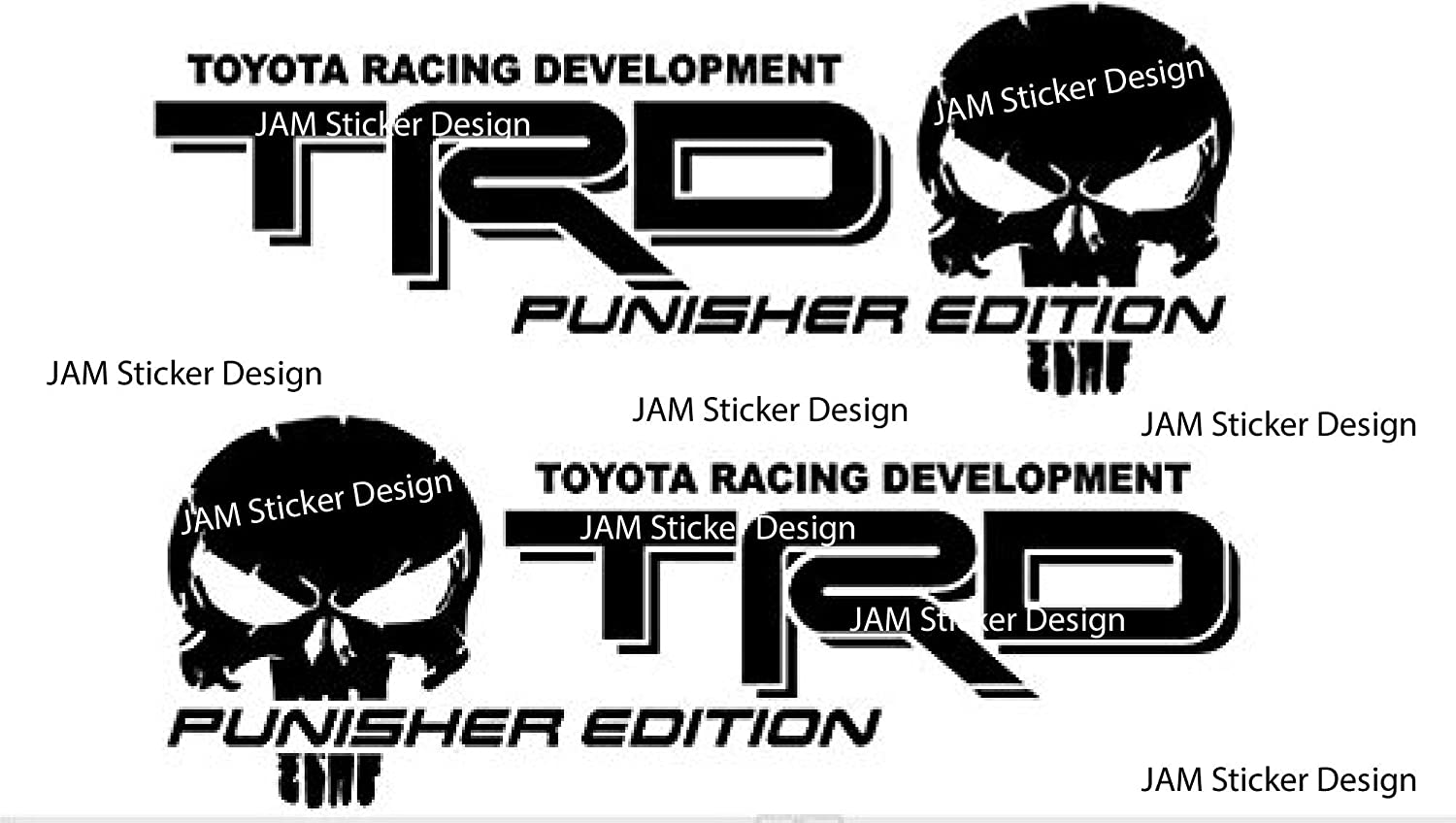 Amazon com 2x trd skull punisher edition vinyl decal 6h x 15w toyota tundra tacomamatt black arts crafts sewing