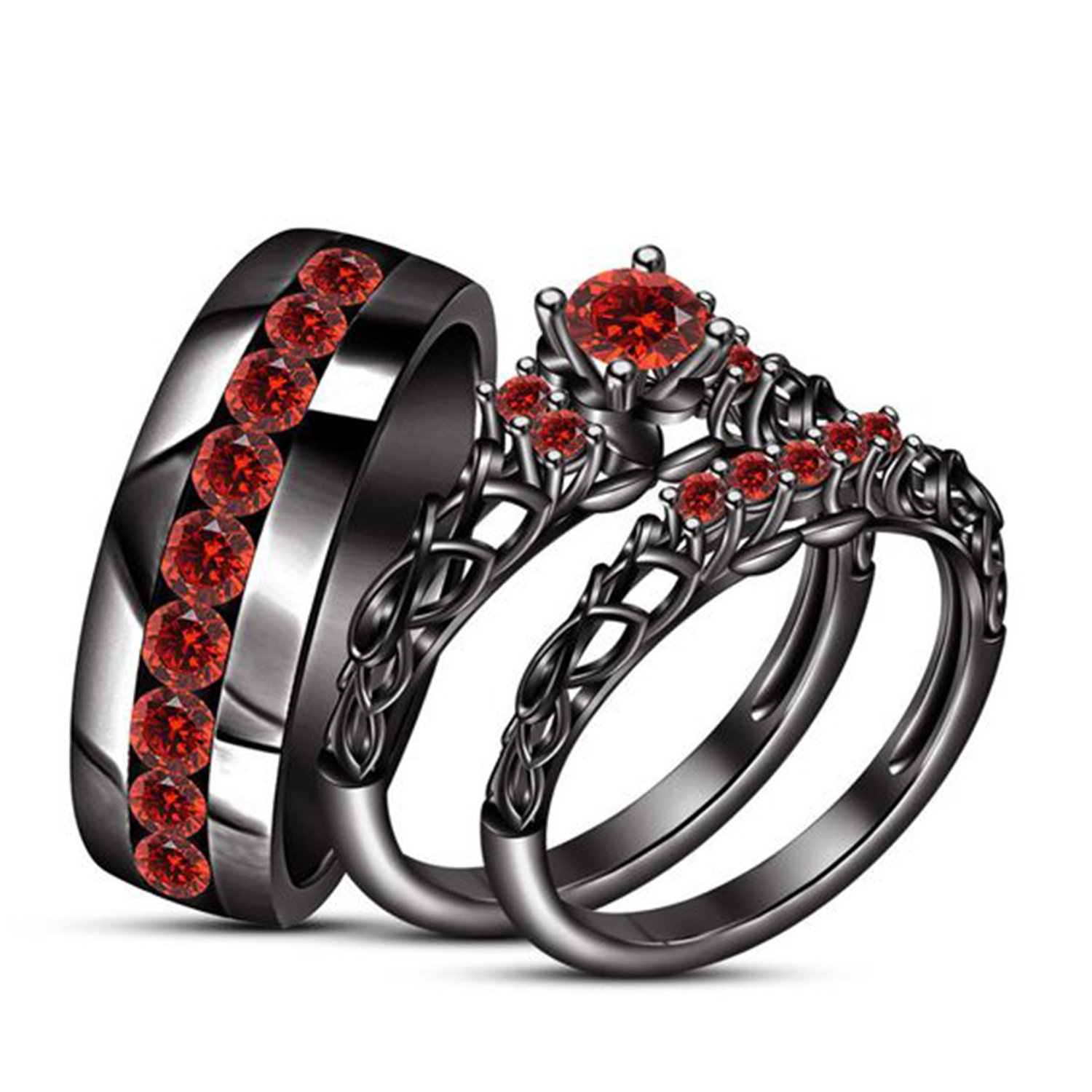 ArtLine Jewels 14k Black Gold Plated Simulated Red Ruby Studded His & Her Wedding & Engagememt Trio Ring Set