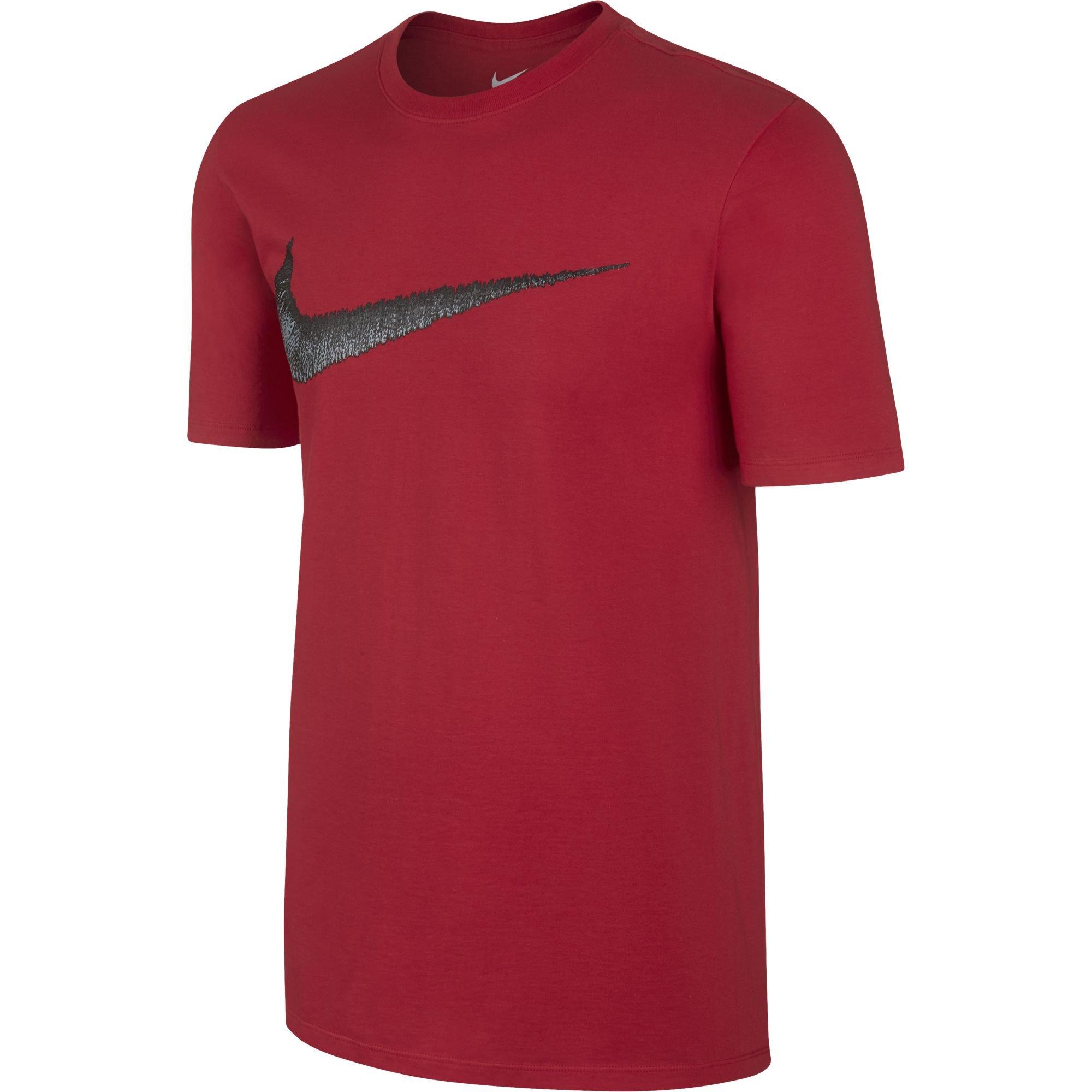 NIKE Sportswear Men's Hangtag Swoosh Tee, University Red/Anthracite, X-Small