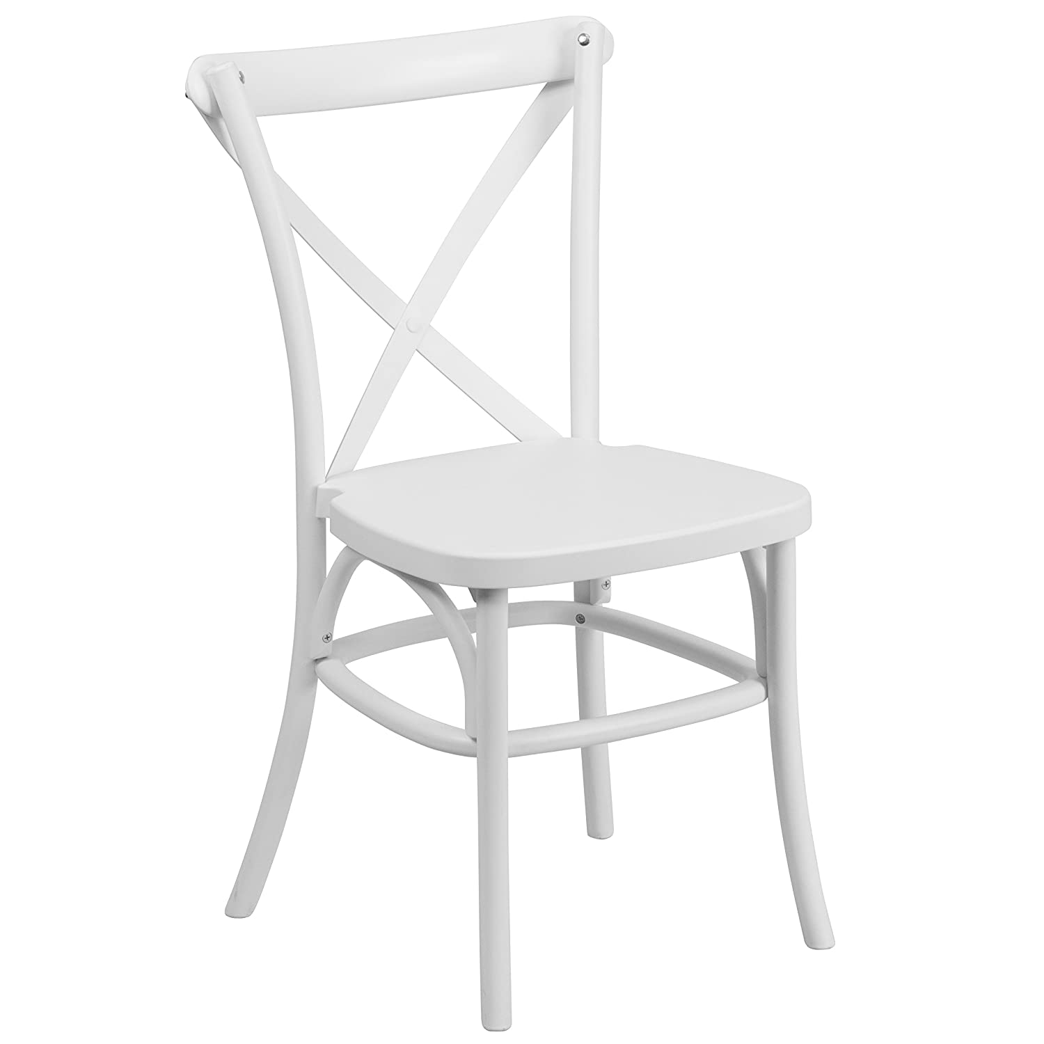 Amazon.com: Flash Furniture HERCULES Series White Resin Indoor Outdoor  Cross Back Chair With Steel Inner Leg: Kitchen U0026 Dining