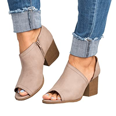 Women Low Heel Ankle Booties Slip On Vegan Suede Leather Cut Out Chunky Block Stacked Peep Toe Ankle Boots Shoes | Ankle & Bootie